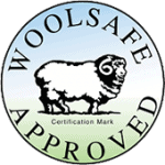 Woolsafe logo showing accreditation to clean wool carpets and upholstery.
